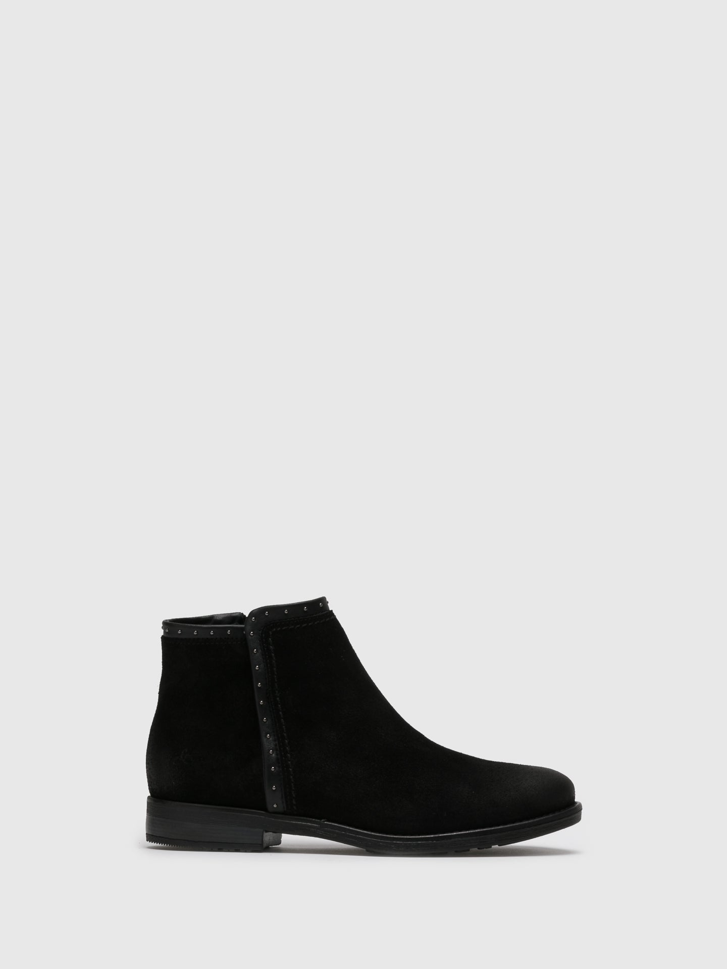 Bos&Co Black Suede Zip Up Ankle Boots