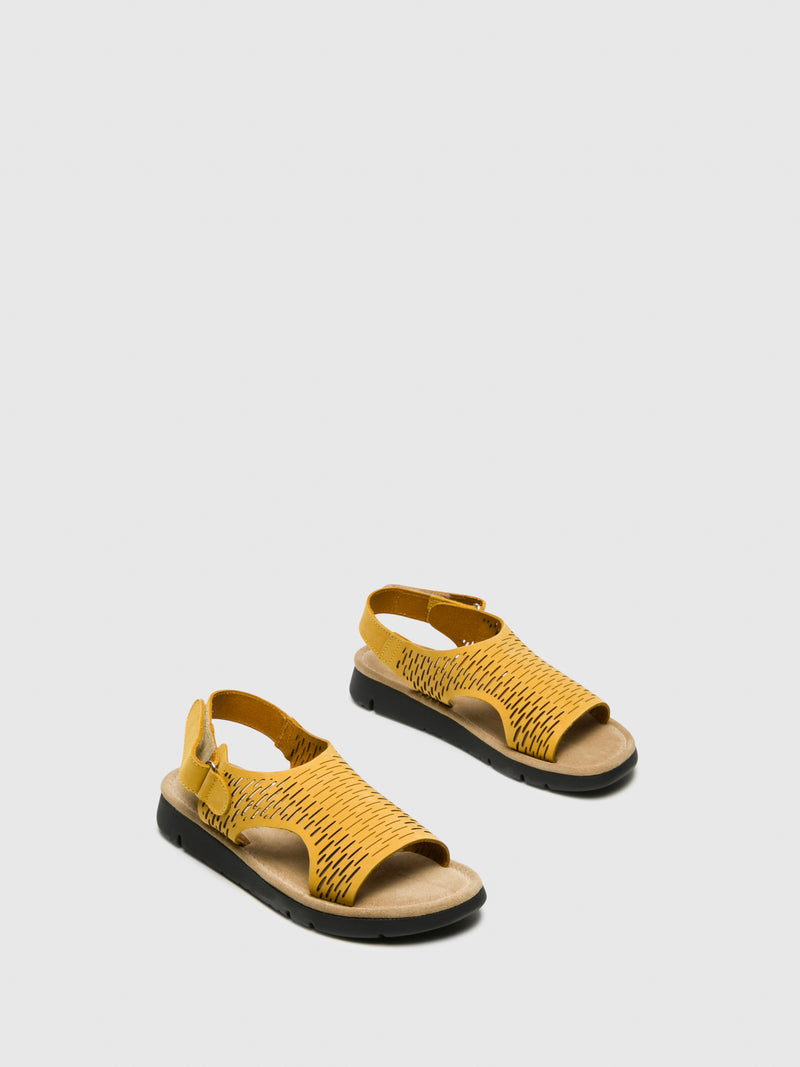 Bos&Co Yellow Velcro Sandals