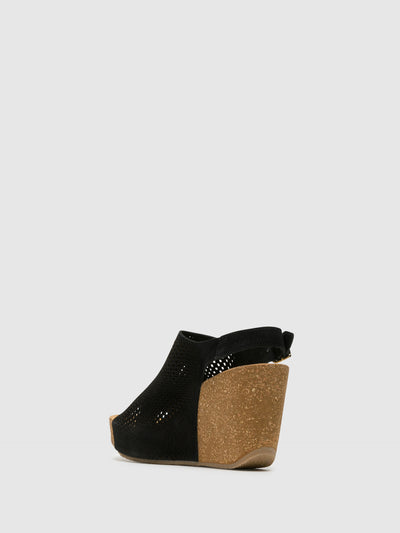 Bos&Co Black Wedge Sandals
