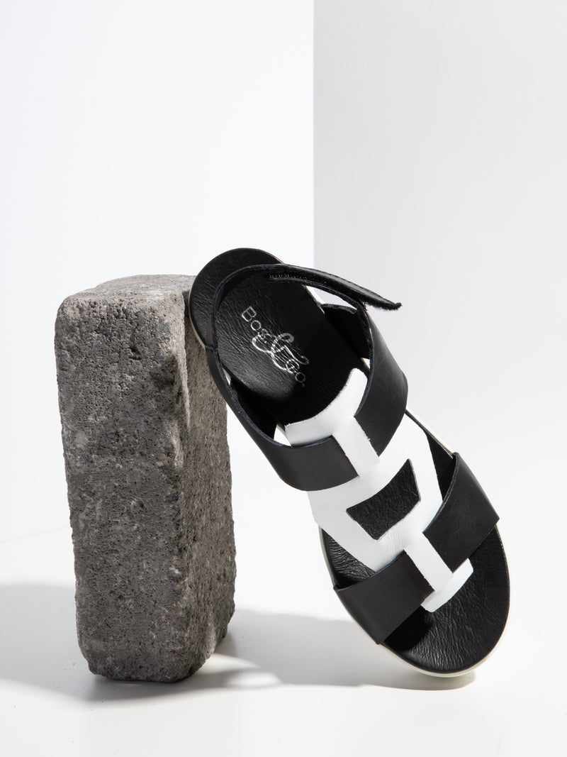 Bos&Co Coal Black T-Strap Sandals