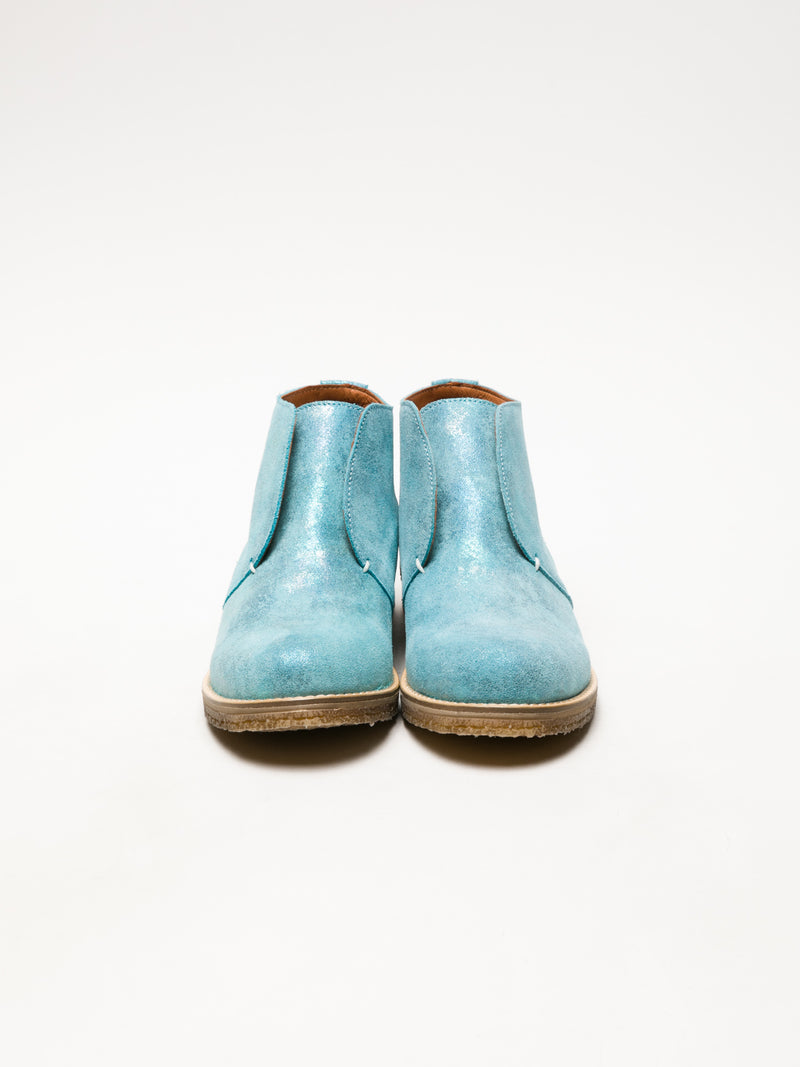 LightBlue Round Toe Ankle Boots