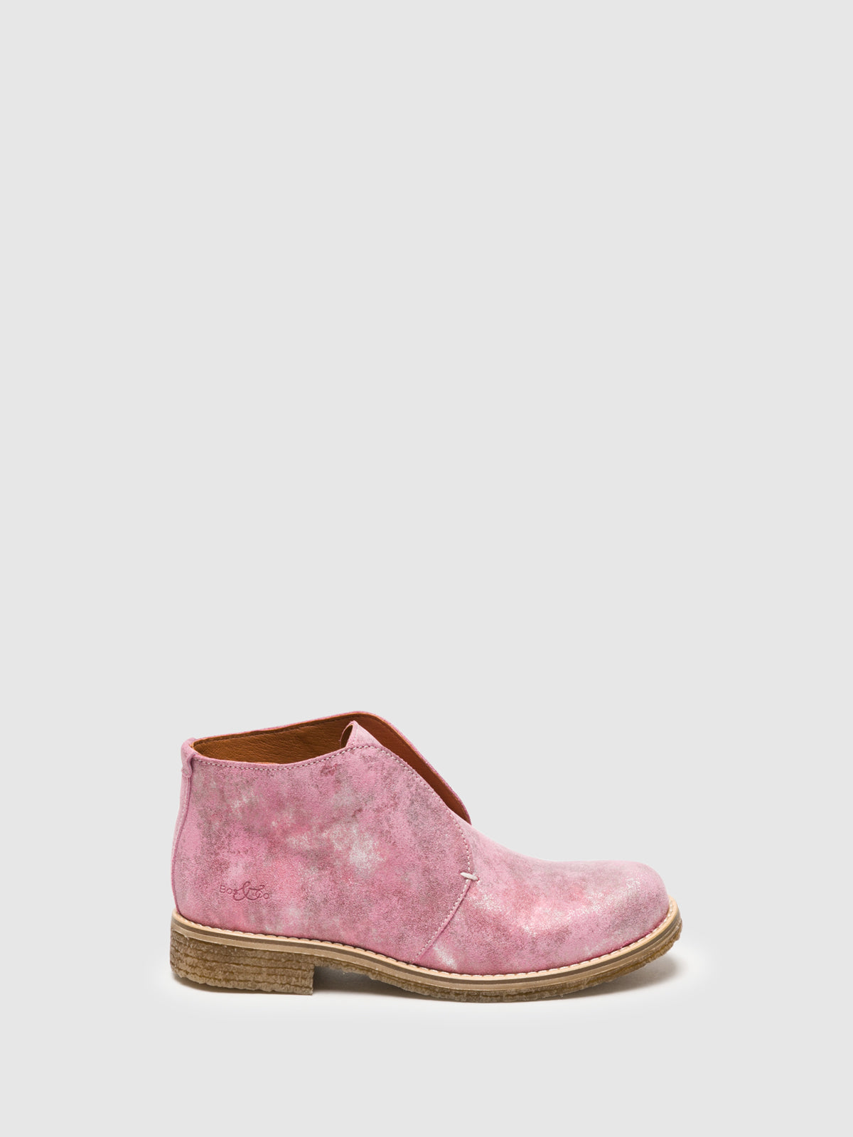 Bos&Co Pink Round Toe Ankle Boots