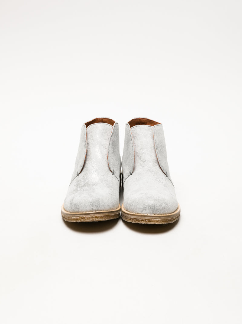 Silver Round Toe Ankle Boots