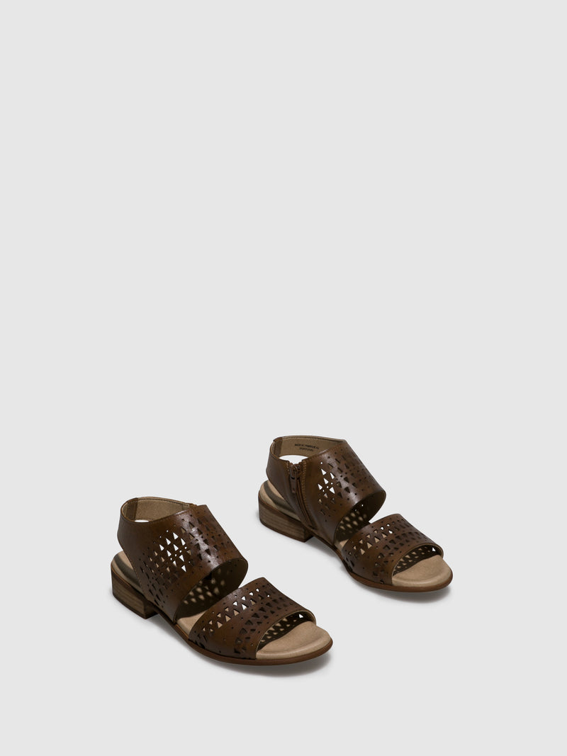 Bos&Co Brown Sling-Back Sandals