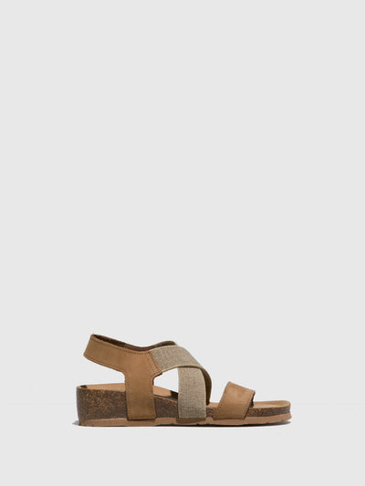 Bos&Co Beige Crossover Sandals
