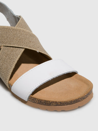 Bos&Co White Crossover Sandals