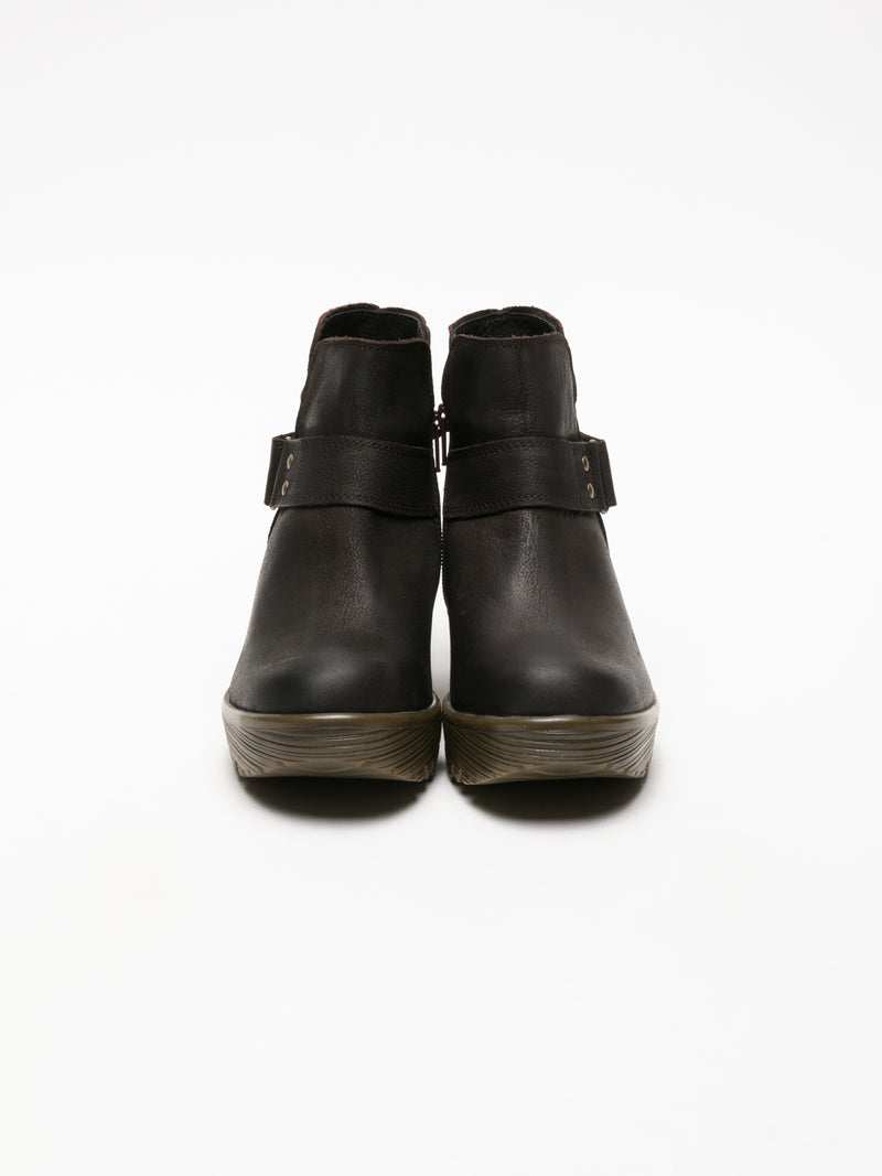 Brown Velcro Ankle Boots