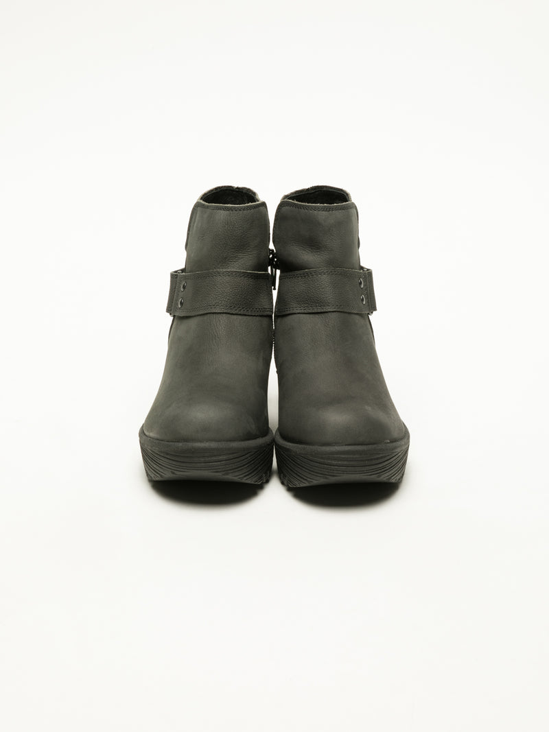 Gray Velcro Ankle Boots