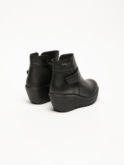 Fly London Black Velcro Ankle Boots