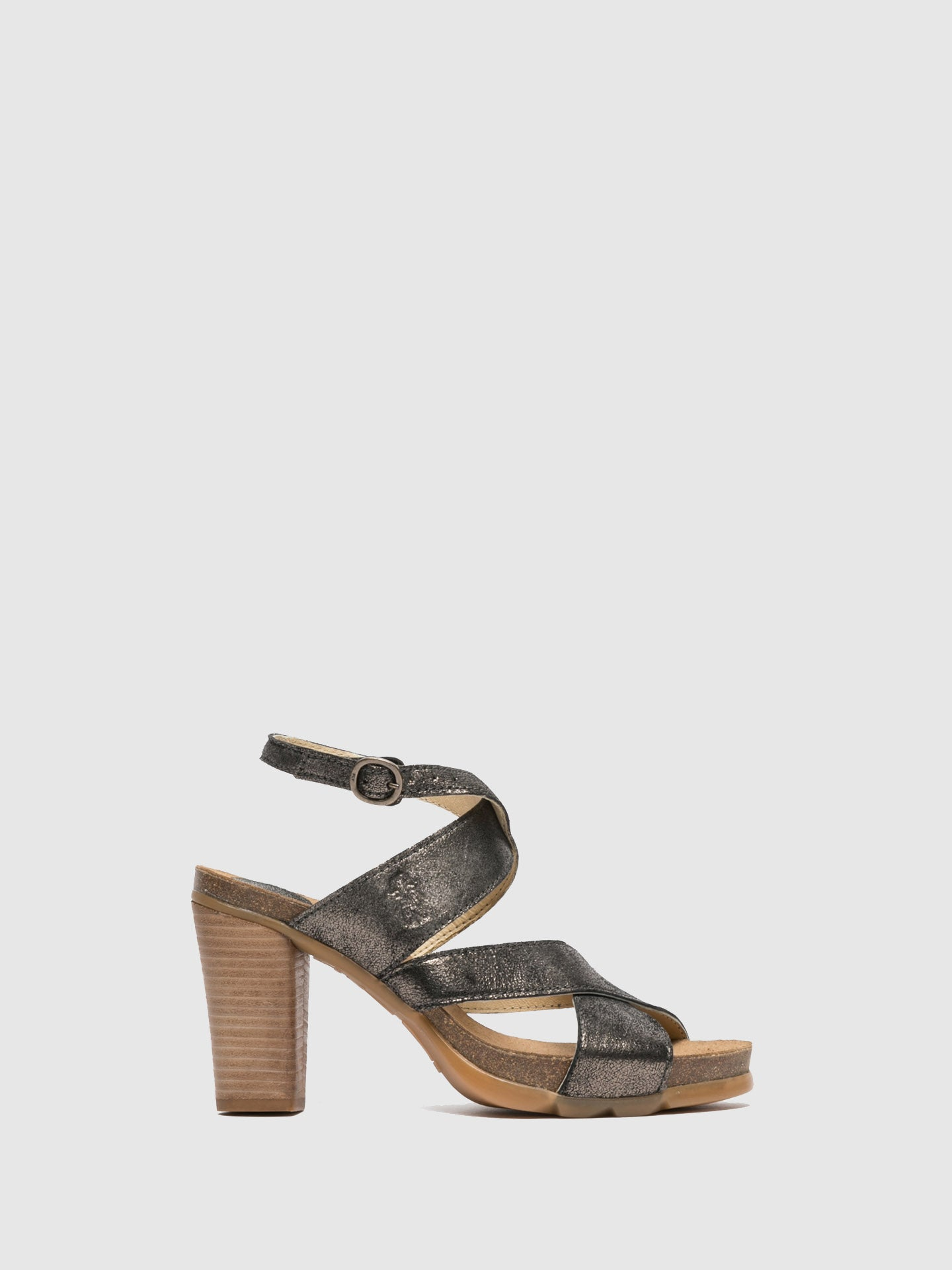 Fly London Gray Heel Sandals