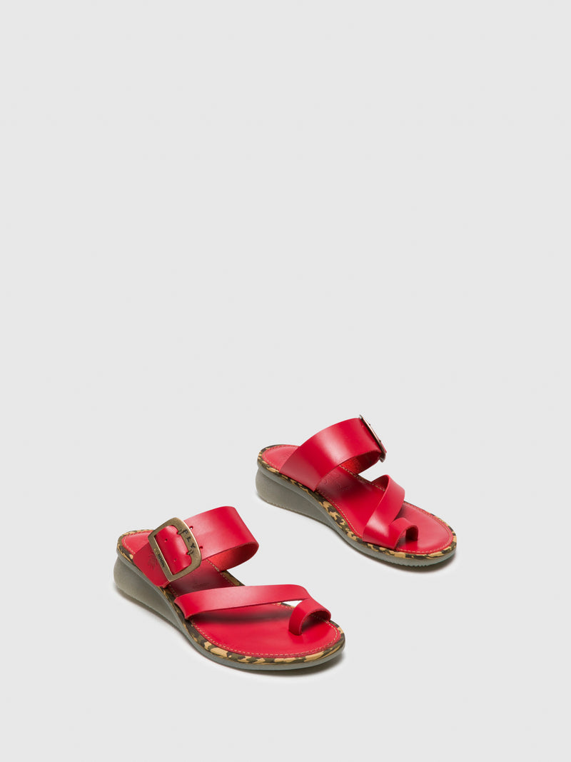 Red Round Toe Mules