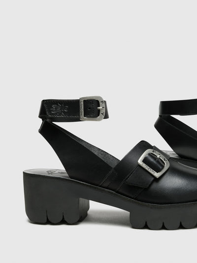 Fly London Black Buckle Sandals