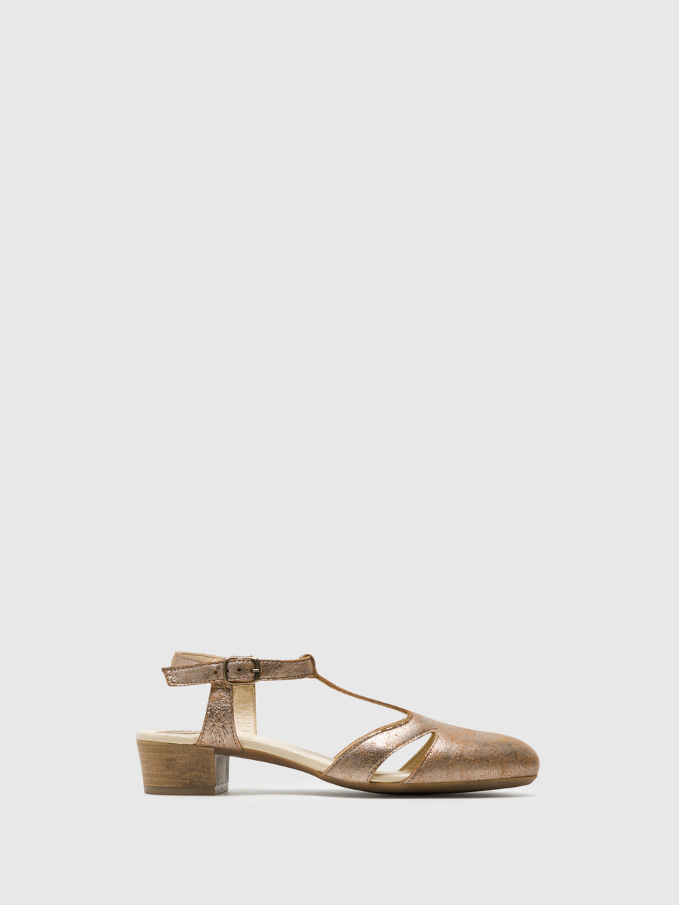 Fly London Gold T-Strap Sandals