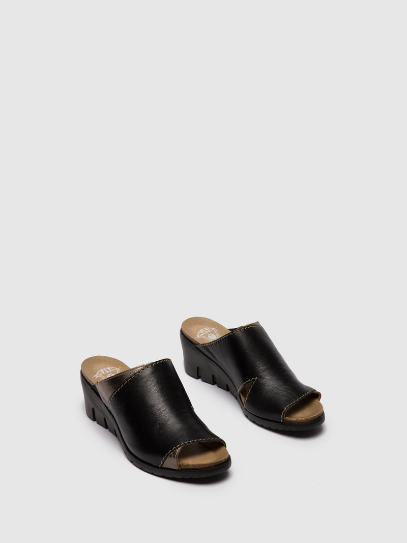 Fly London Black Open Toe Mules