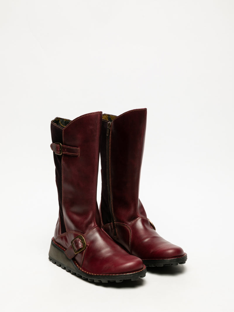DarkRed Buckle Boots