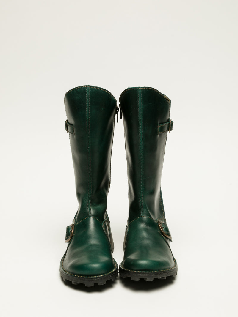 DarkGreen Buckle Boots
