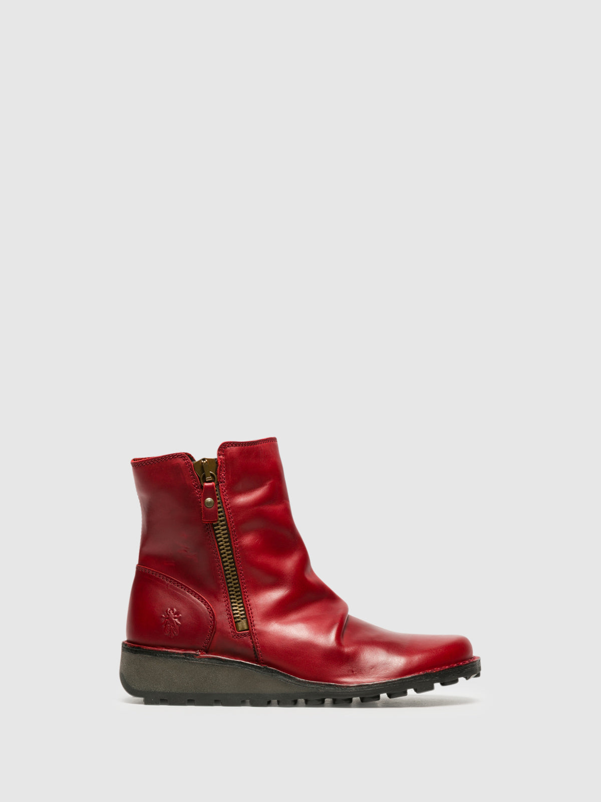 Fly London Red Zip Up Ankle Boots