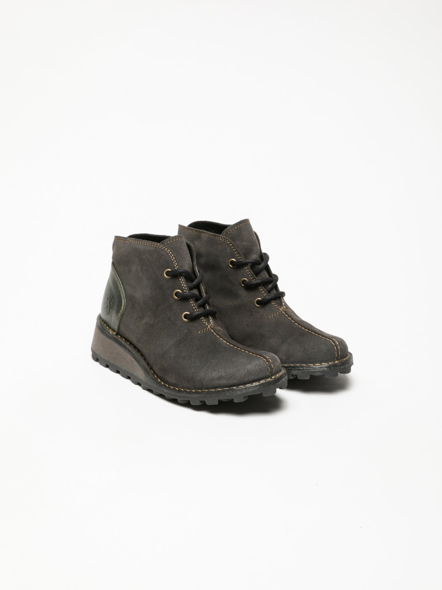 Gray Lace-up Ankle Boots - Overcube