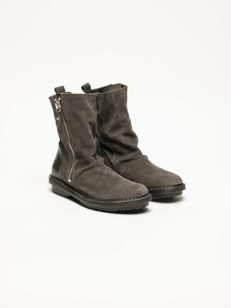 Gray Zip Up Ankle Boots