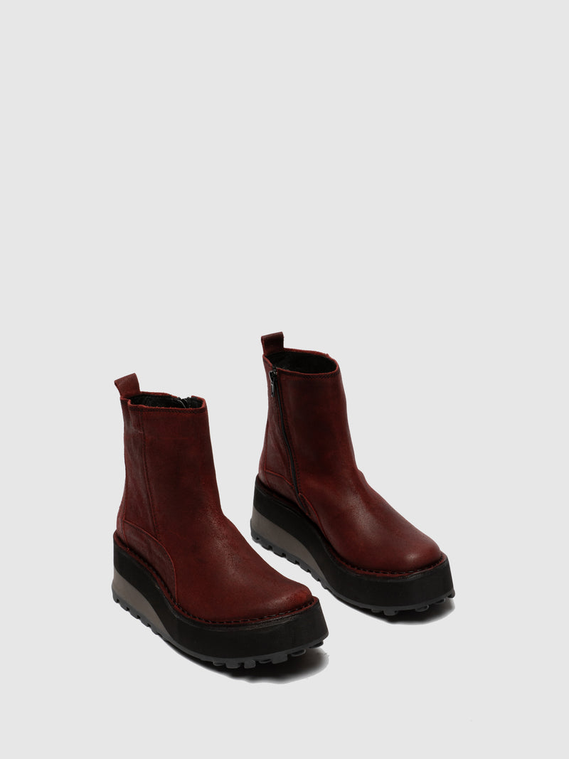 DarkRed Zip Up Ankle Boots