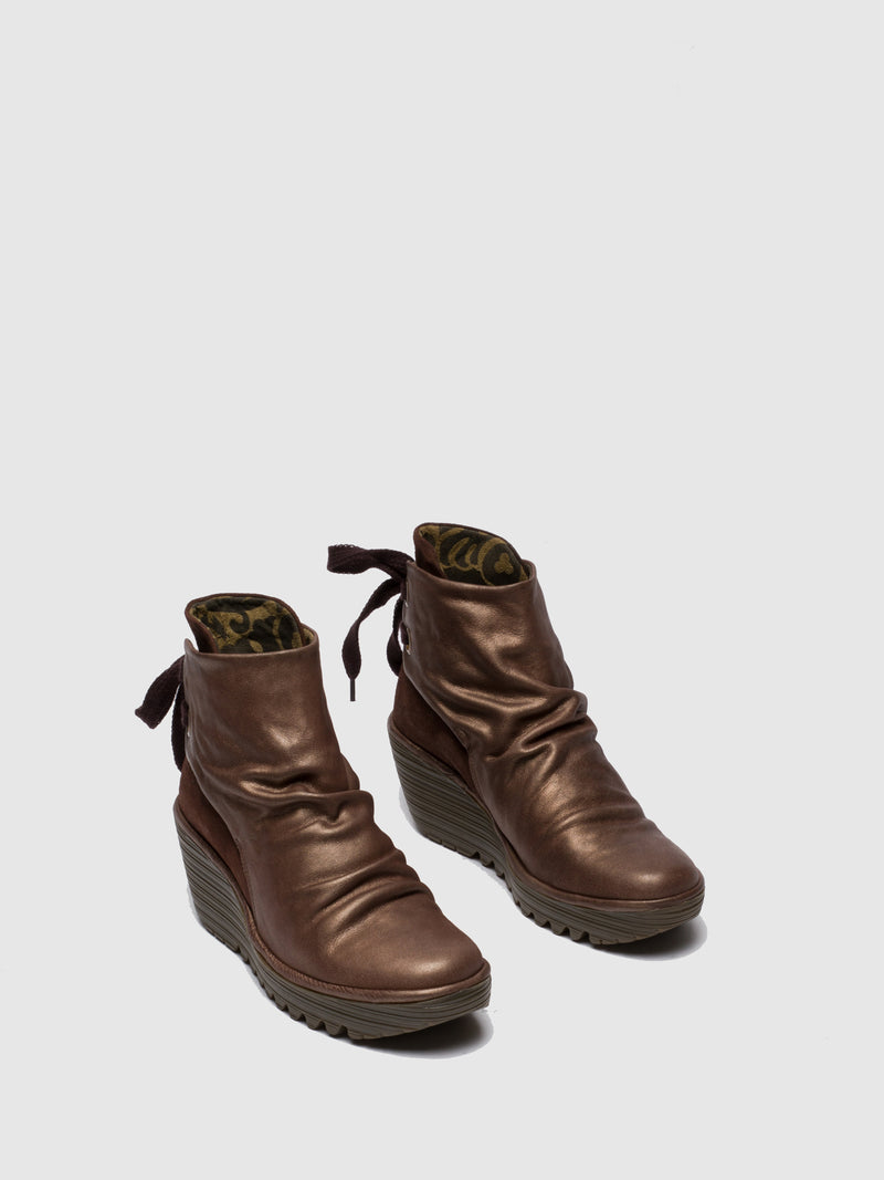 Brown Lace-up Ankle Boots