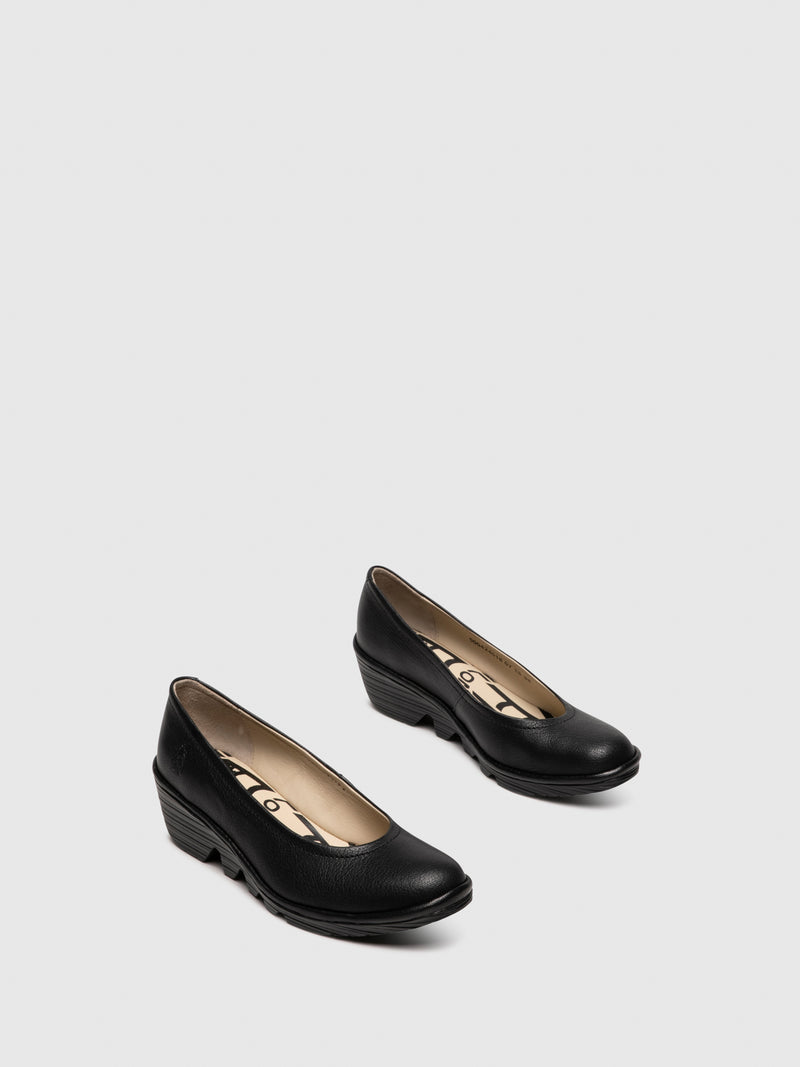 Coal Black Wedge Ballerinas