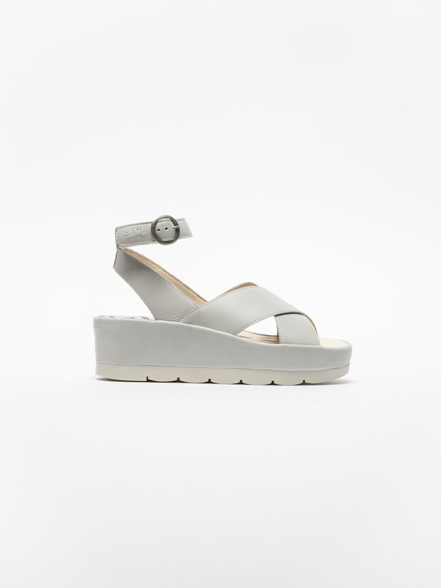 Fly London Gray Ankle Strap Sandals