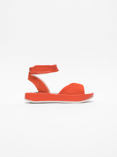 Fly London Orange Ankle Strap Sandals