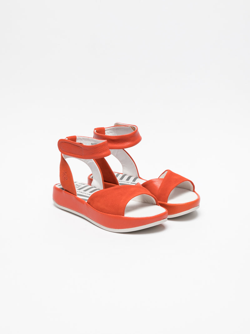 Orange Ankle Strap Sandals