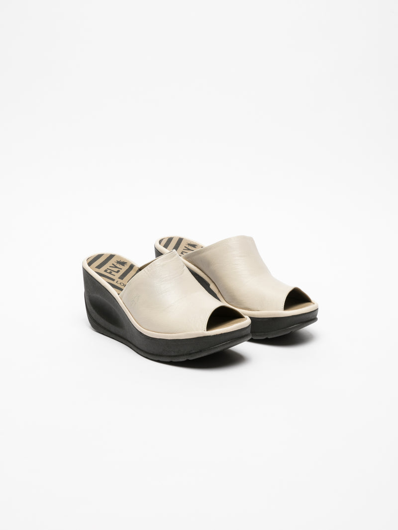Fly London White Wedge Mules