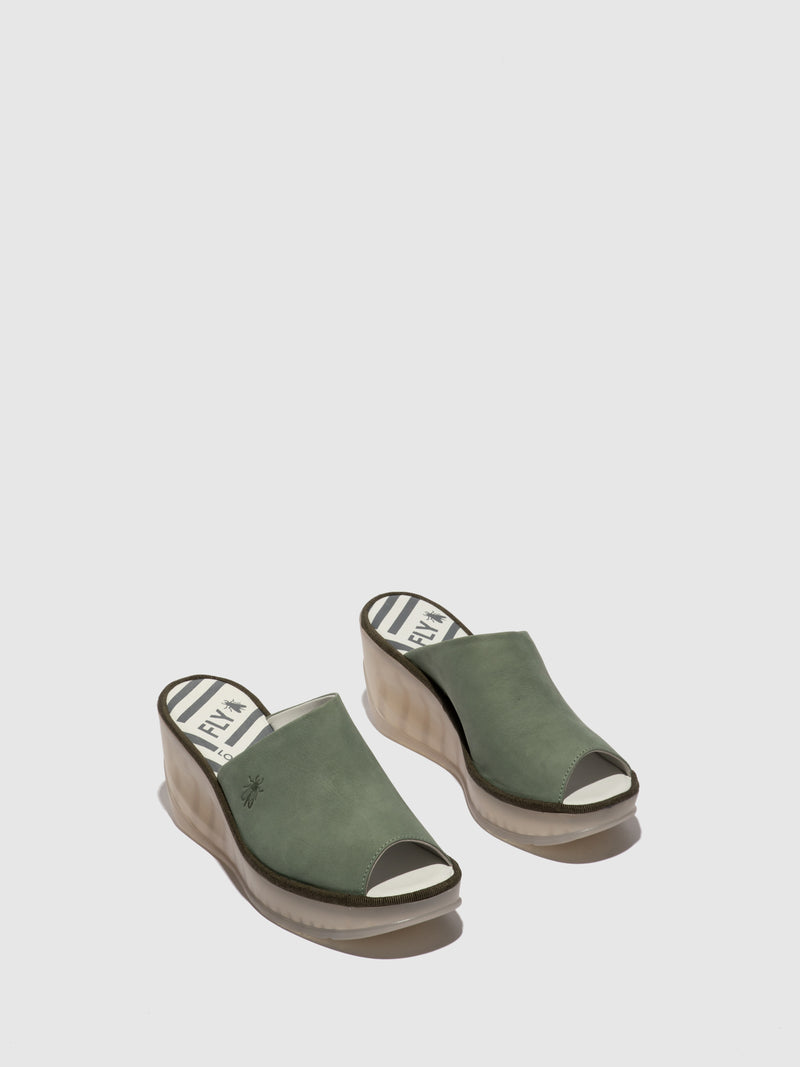 Green Wedge Mules