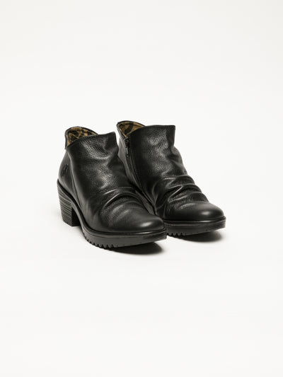 Fly London Coal Black Zip Up Ankle Boots