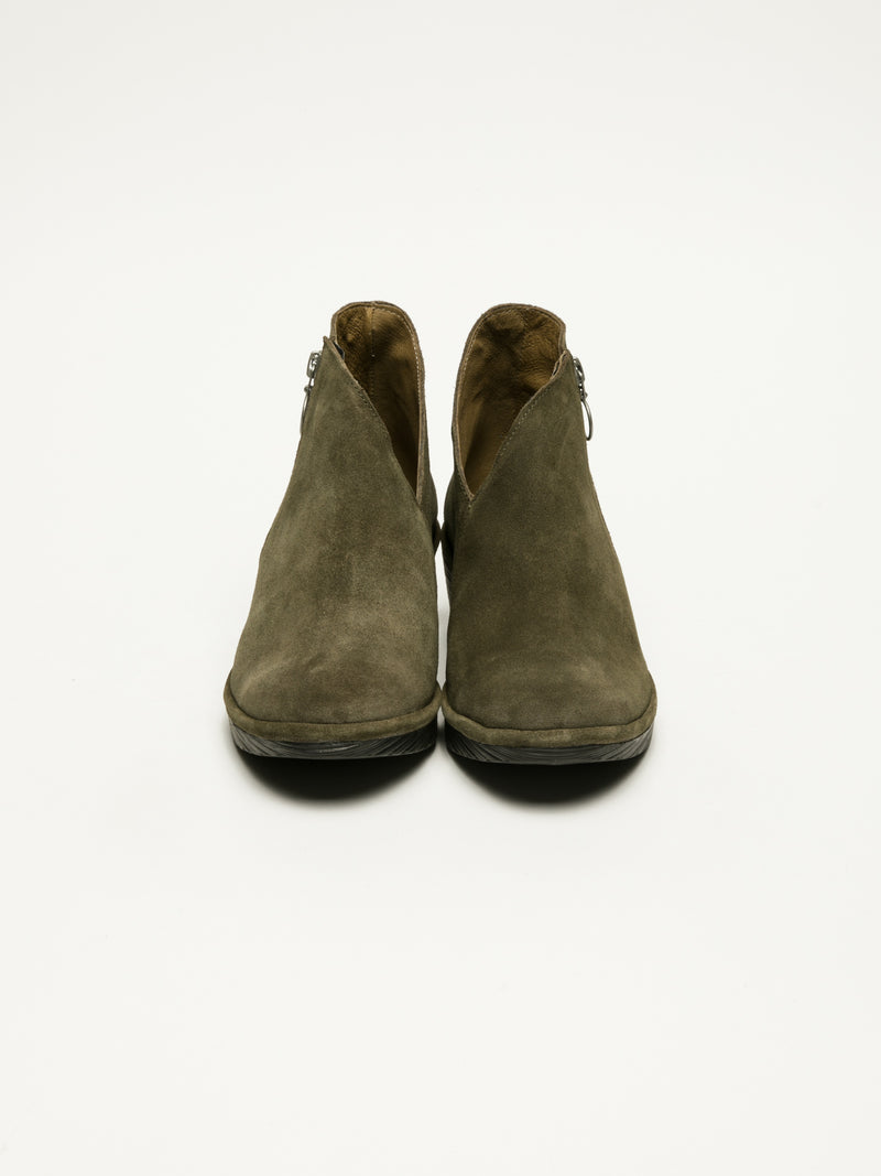 DarkGreen Zip Up Ankle Boots