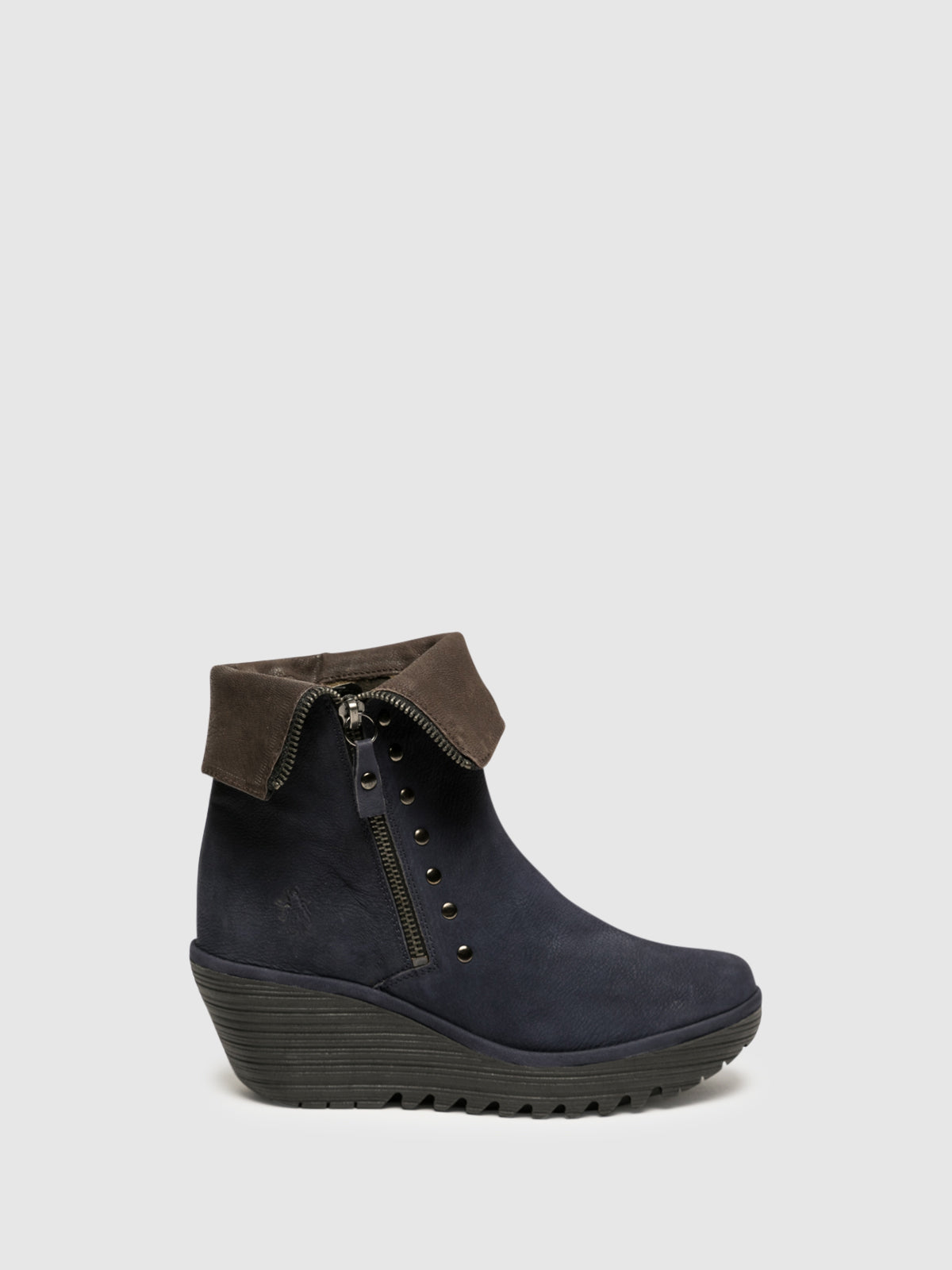 Fly London Navy Zip Up Ankle Boots