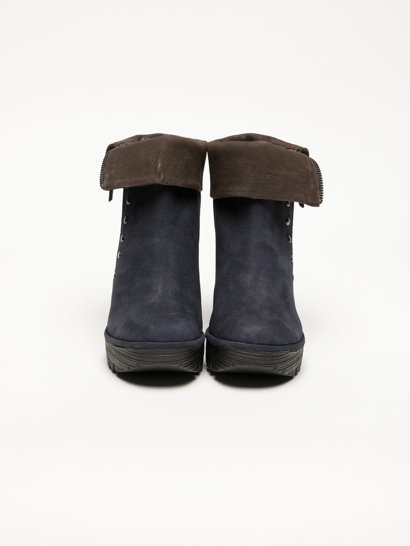 Navy Zip Up Ankle Boots