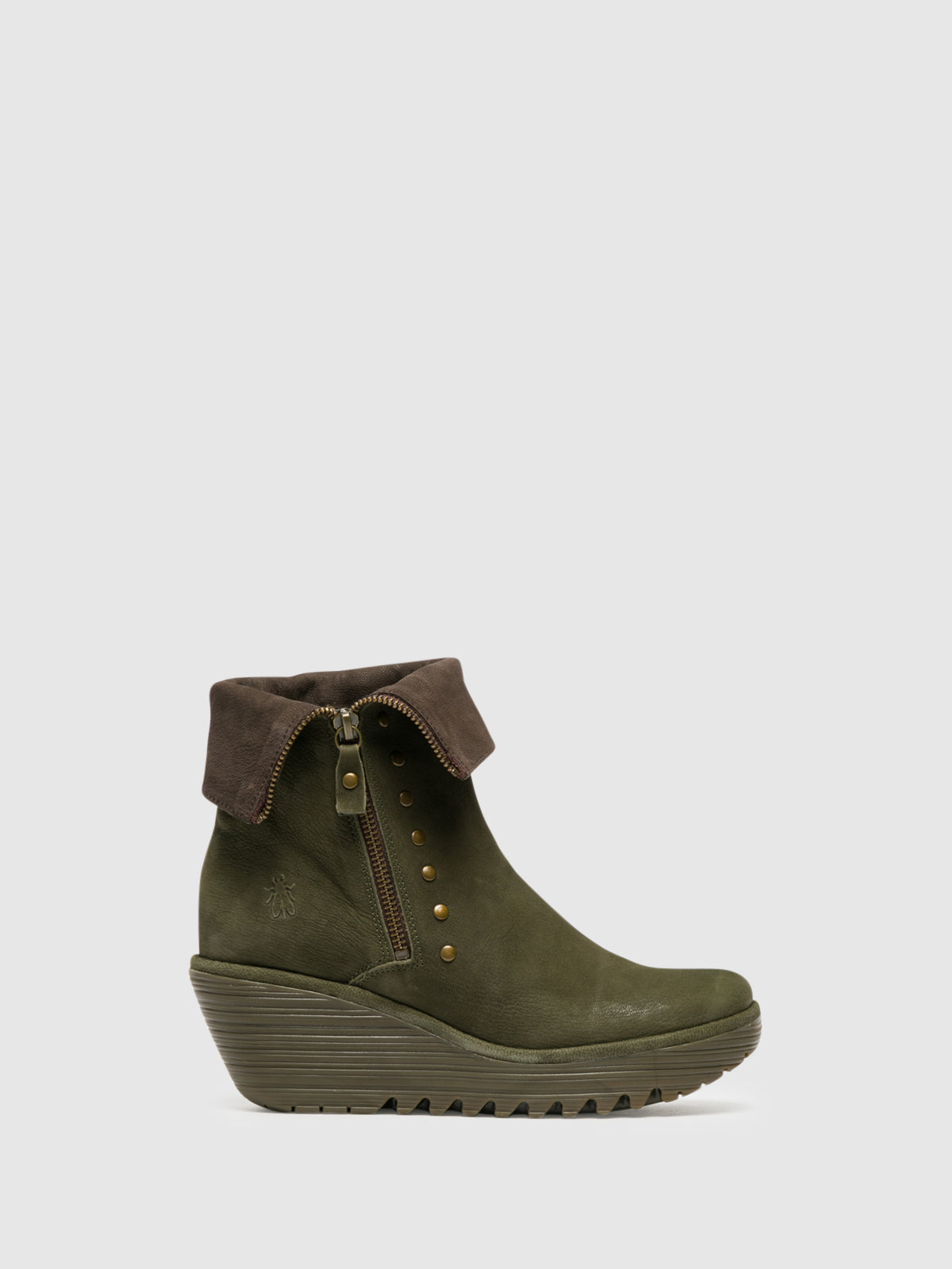 Fly London Khaki Zip Up Ankle Boots