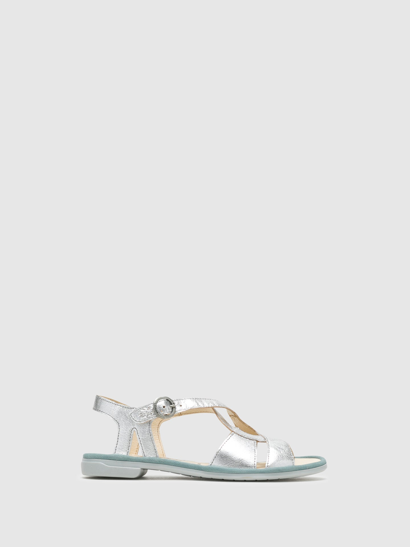 Fly London Silver Buckle Sandals
