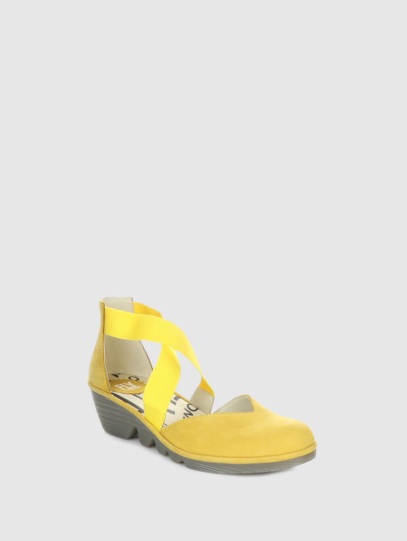 Fly London Yellow Crossover Sandals