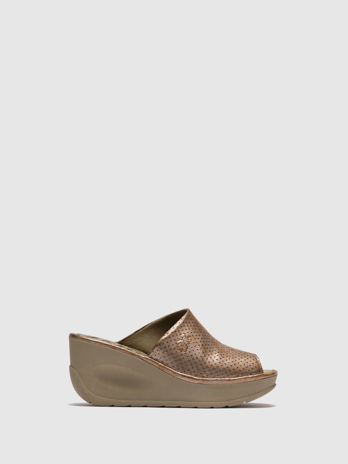 Fly London Gold Wedge Mules