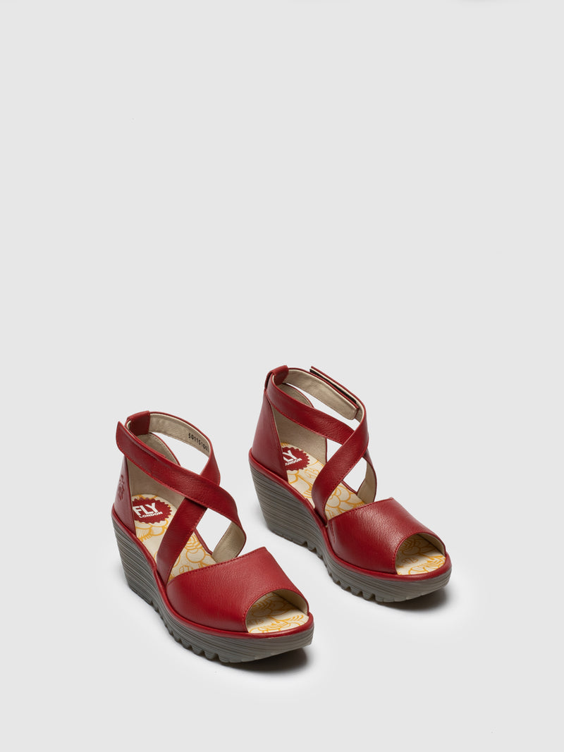 Fly London Red Open Toe Sandals