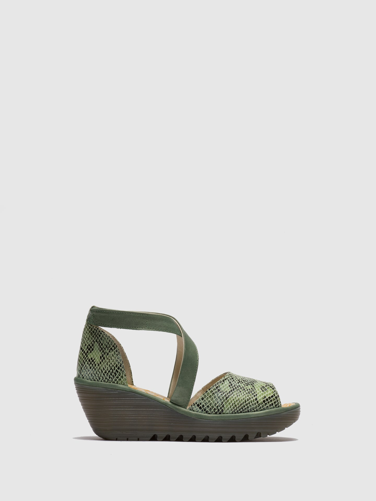 Fly London Green Open Toe Sandals