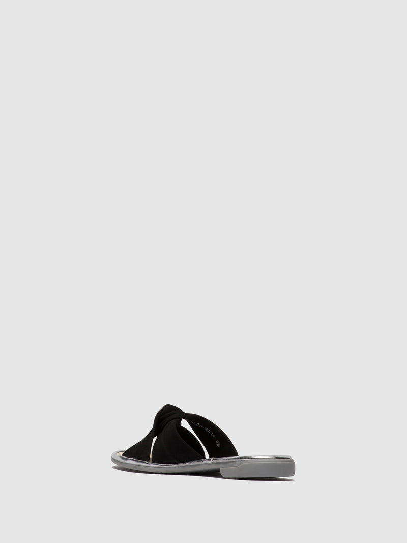 Fly London Black Flat Mules