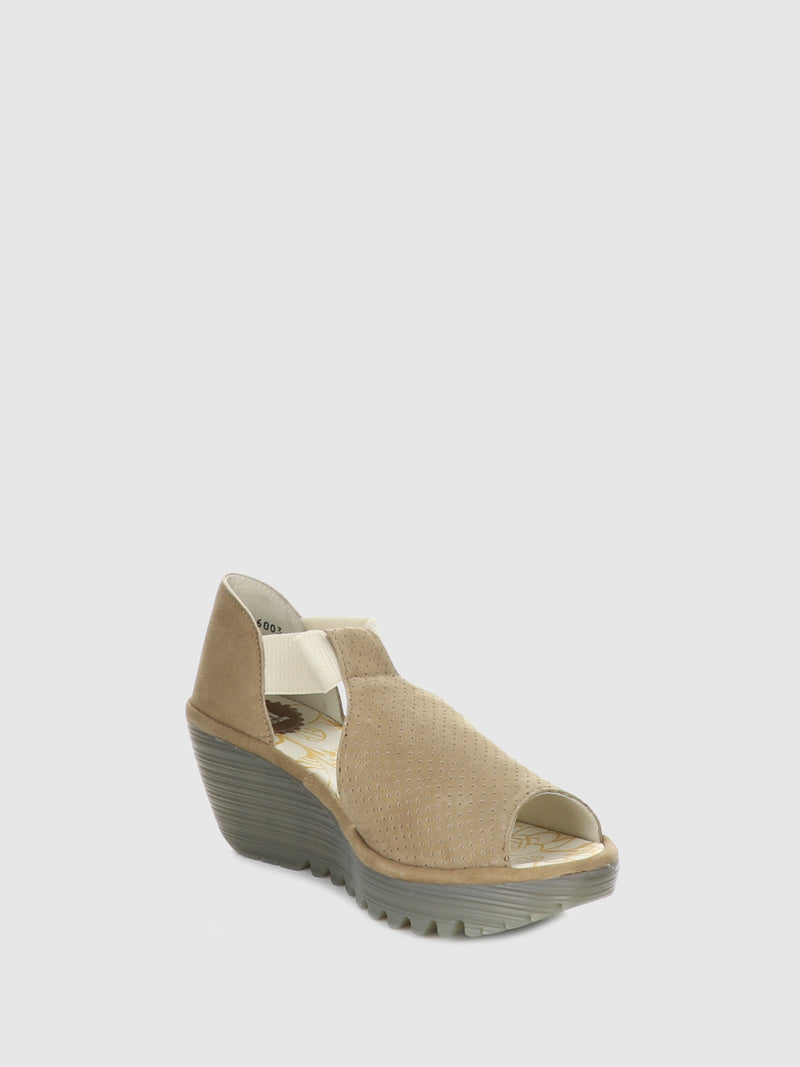 Fly London Beige Wedge Sandals