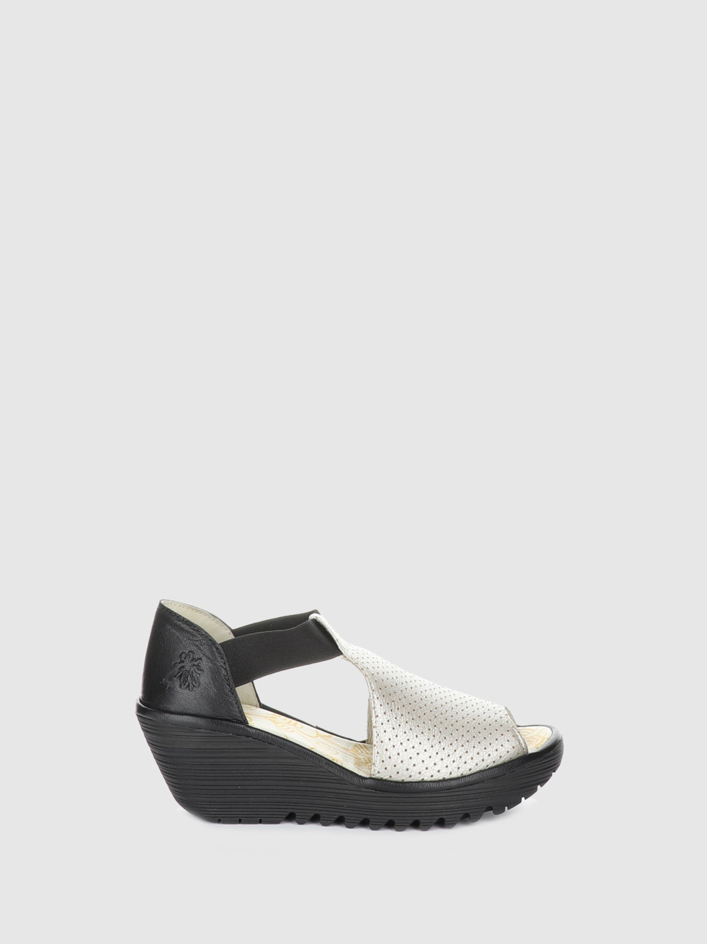 Fly London Silver Wedge Sandals