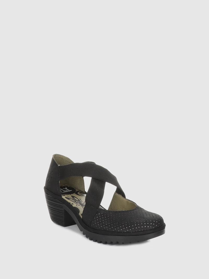 Fly London Black Crossover Sandals
