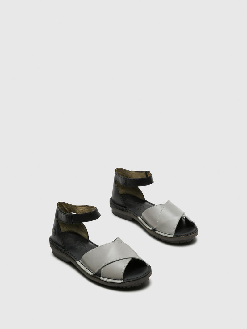 Gray Ankle Strap Sandals