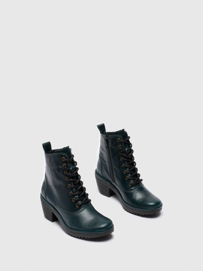 DarkGreen Lace-up Ankle Boots