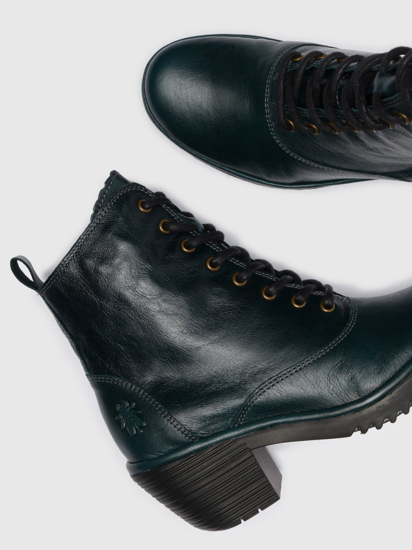 DarkGreen Lace-up Ankle Boots - Overcube