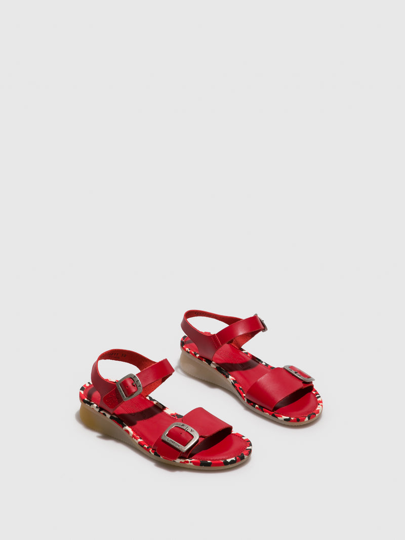 Red Buckle Sandals