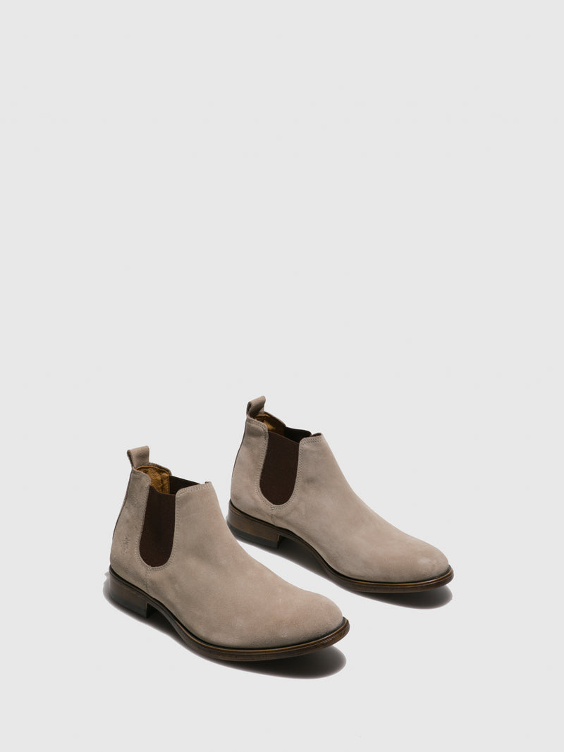Fly London Beige Suede Chelsea Ankle Boots